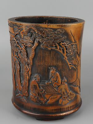 Chinese Exquisite Hand-carved Pine trees & Old man Carving bamboo Pen holder
