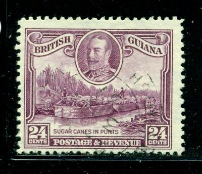 BRITISH GUIANA 216 SG294 Used 1934 24c KGV Defin Sugar Canes in Punts Cat$12