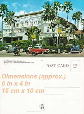 Lot of 2 Vintage Postcards - 1950s - Raffles Hotel - Singapore - Malaysia