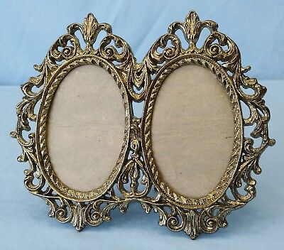 Vintage Ornate Double Oval Picture Frame Victorian Style Gold Tone Metal