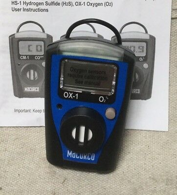 MACURCO OX-1 Portable Single Gas Detect, O2, 0 to 25 Percent vol