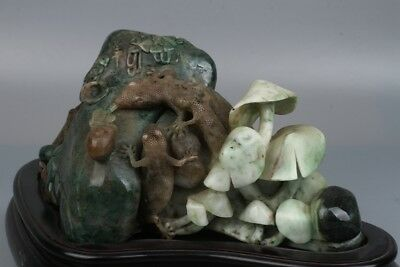 Chinese Exquisite hand-carved lizard pattern Natural Dushan jade statue