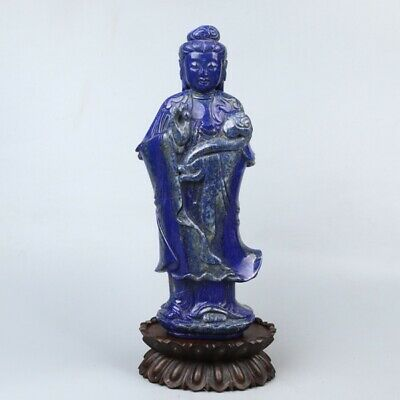 Chinese Exquisite Hand-carved Guanyin carving lapis lazuli statue