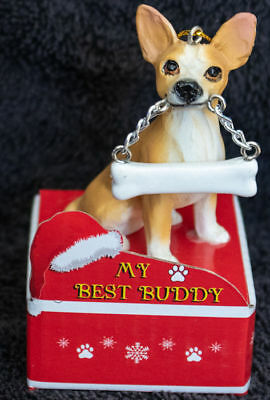 Chihuahua Tan Statue with Bone Best Buddy Dog Breed Christmas Ornament