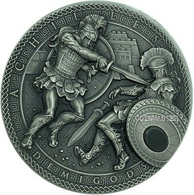 NIUE 2017 2 Oz Silver ACHILLES VS HEKTOR, DEMIGODS Ultra High Relief Coin..