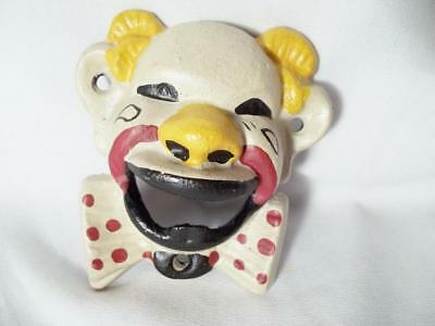 Cast Iron Painted Circus Clown Wall Mount Soda Pop Beer Bar Bottle Opener Scary
