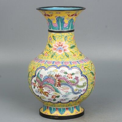 Chinese Exquisite Handmade Dragon Phoenix floral pattern Copper enamel Vase