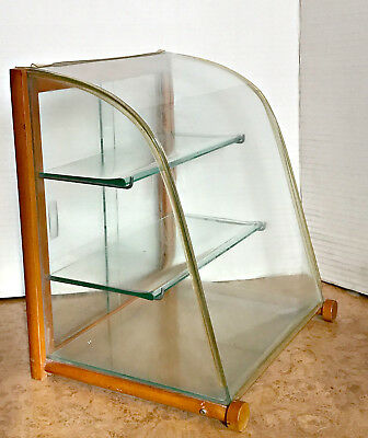 Vintage French Mercantile Curved Glass Perfume Display Cabinet