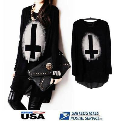 Women Gothic Punk Pullover Long Sleeve Cross Print Loose Black Tops Shirt Blouse