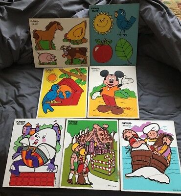 LOT of 7 VINTAGE 1970s-80s PLAYSKOOL Wooden Puzzles Various Themed Colorful USA