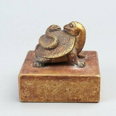 Chinese Exquisite Handmade tortoise snake copper Gilt seal statue