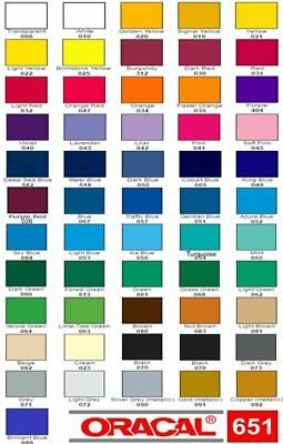 """12"""" Oracal 651 Vinyl  5 ft long- Choose any color"""