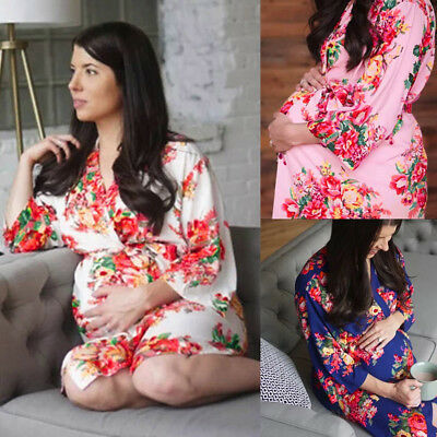 Women Maternity Nursing Nightgown Breastfeeding Nightshirt Floral Sleepwear HOT