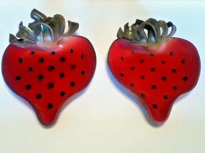Candles in the Rain Original Creations in Leather Set of 2 Strawberries 6 1/2""