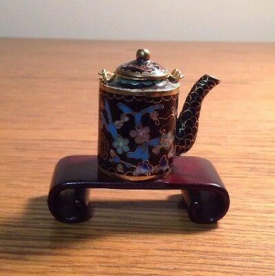 Antique Cloisonne Enameled Miniature Mini Chinese Teapot & Stand
