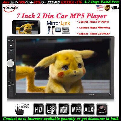 7'' 2 DIN Touch Screen Car Radio Stereo Bluetooth Audio MP5 USB/TF/AUX/FM/Remote