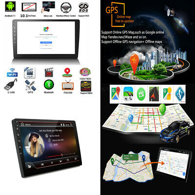 """Android 8.1 2Din 10.1"""" HD Quad-Core Car Stereo Radio Player GPS Wifi Mirror Link"""