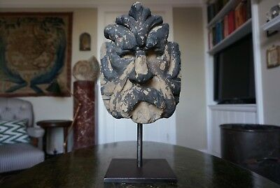 A Superb 17Th Century English Carved Stone Head Of 'the Green Man'