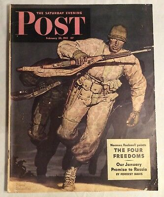 Norman Rockwell The Saturday Evening Post February 20, 1947 WWII Issue Texaco