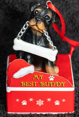 Rottweiler Statue with Bone Best Buddy Dog Breed Christmas Ornament