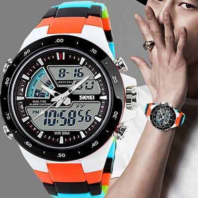 Men Sports Watches Waterproof Quartz Digital & Analog Military Casual Watch