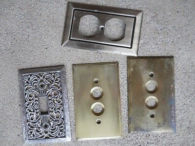 Vintage 3 Solid Brass Switch Plates, 1 Aluminum Receptacle Cover