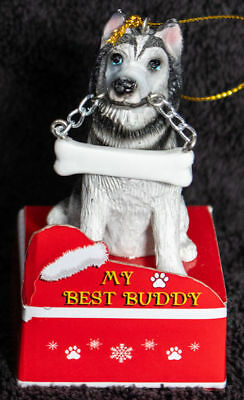 Siberian Husky Statue with Bone Best Buddy Dog Breed Christmas Ornament