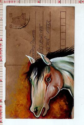 Horse Animal Vintage India Handmade Miniature Postcard Painting #18332