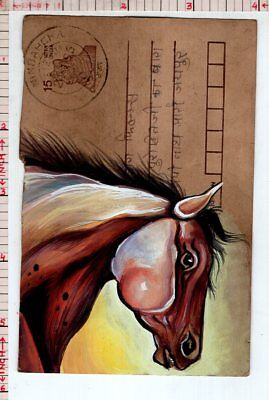 Horse Animal Vintage India Handmade Miniature Postcard Painting #18334