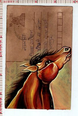 Horse Animal Vintage India Handmade Miniature Postcard Painting #18333