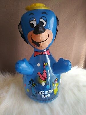Huckleberry Hound Hanna Barbera 1976 Bop Inflated Squeaky Toy & Ball with Bell