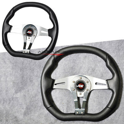 350MM Steering Wheel Universal Silver & Suede & Leather  MOMO Style/ Horn