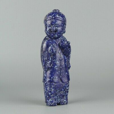 Chinese Exquisite Hand-carved Ancient people carving lapis lazuli statue