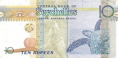 Seychelles  10  Rupees  ND.  1999   P 36  Series AC  Circulated Banknote RCV