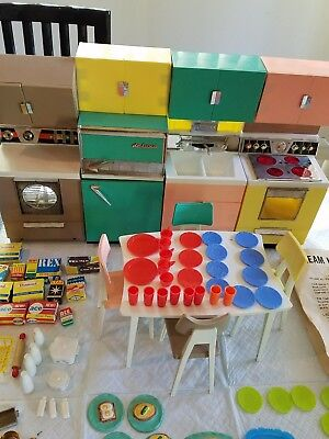Vintage Barbie Delux Reading Dream Kitchen with Dinette Set and Accessories
