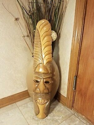 Hand Carved Wooden Tiki Mask Tropical Tribal Home Decor
