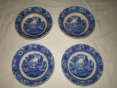 RARE 4 Early Antique Wedgwood Flow Blue Thames River Boat Small Fruit Nut Bowls