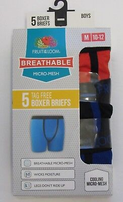 Boys Fruit of the Loom Breathable Boxer Briefs ~ Size Medium 10-12 ~ 5 Pack~