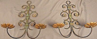 """Antique French Wrought Iron Brass Wall Sconces 1920's Nice old Paint 16"""""""