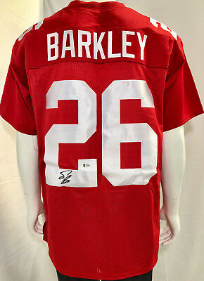 New York Giants Saquon Barkley Autographed Jersey Red Custom - Beckett BAS 4b0b4310e
