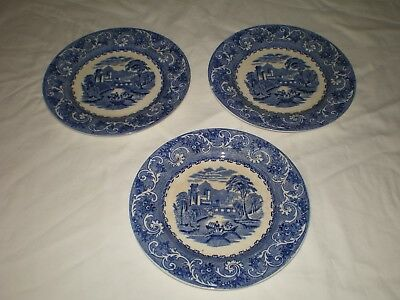 RARE 3 Early Antique Wedgwood Flow Blue Thames River Boat Scene Salad Plates