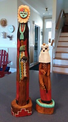 Pair Of Vintage HOPI Carved & Painted Wood Sculptures ~ Marvin Polacca