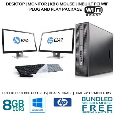"HP Computer Package 800 G1 Core i5-4570 8GB 500G 19/22/24"" LCD W10 KB MOUSE WifI"