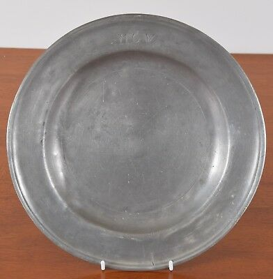 Antique Single Reeded Pewter Plate Monogrammed MGW