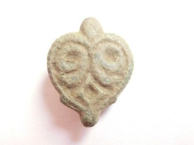 IRON AGE Hallstatt Culture ANCIENT Celtic DRUID stylized God face Bronze AMULET