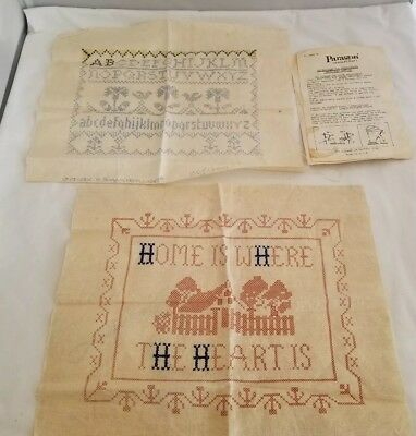 Vintage Pair Paragon Americana Samplers Embroidery Stamped Linens Home Heart ABC