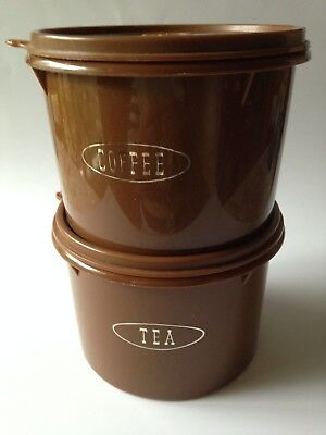 Tupperware: 2 Vintage Brown Canisters. Tea & Coffee. Made in Australia.