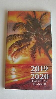 2019-2020 Two 2 Year Ocean Sunset Palm Tree PLANNER Pocket Purse Calendar Beach