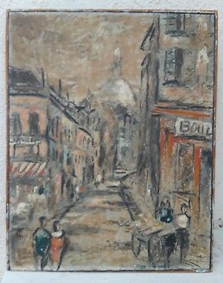 Mid 20th C French Paris Montmartre Antique Street Oil Signed Vintage Old Mystery
