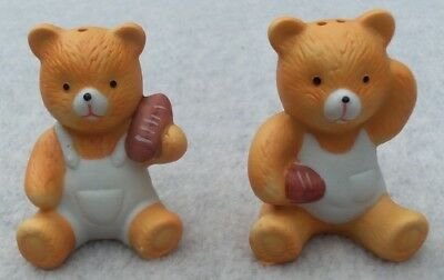 """Football"" Bear Boy and Girl  Salt and Pepper Shakers"